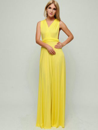 Set of 6 Lemon Yellow Floor Length Wrap Convertible Dress Wedding Dress Bridesmaid Dress Infinity