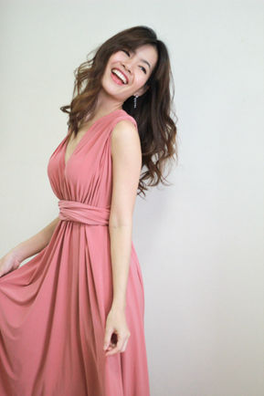 Salmon Pink Infinity Dresses, Mix And Match Bridesmaid Dresses, Twist Wrap Dresses, Long Evening Dress