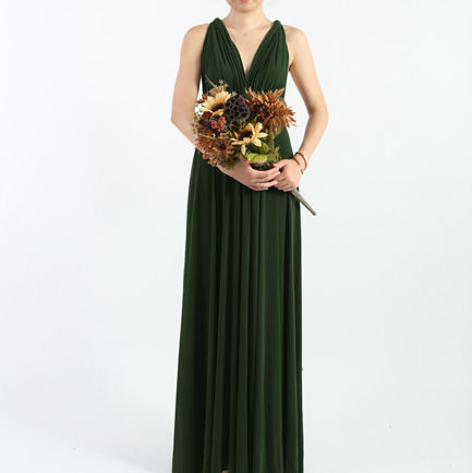 Set of 2 Dark Green Bridesmaid Dresses Long, Wrap Convertible Dress, Bridesmaid Dress, Formal, Wedding