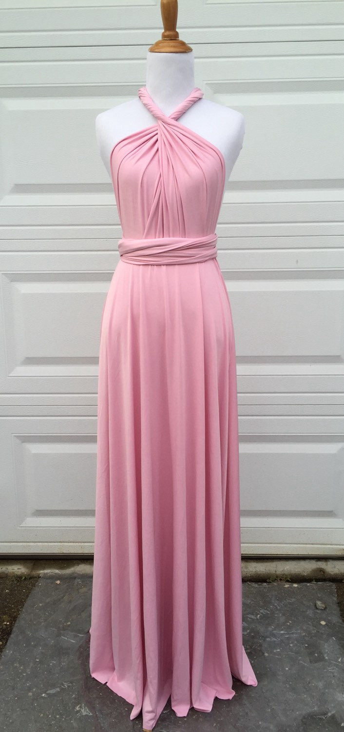 Pink Bridesmaid Dress Short Infinity Dress Convertible Formal Multiway Wrap Dress
