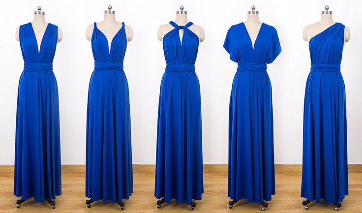 Long Bridal Party Dress, Navy Blue Infinity Dress, Maxi Convertible Prom Dress, bridesmaid dress blue