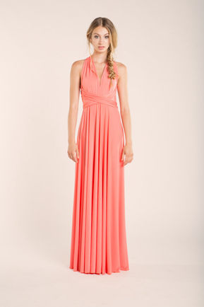 Coral bridesmaid dresses, Convertible Bridesmaid Dress,Coral Prom Dress, Floor Length Coral Dress
