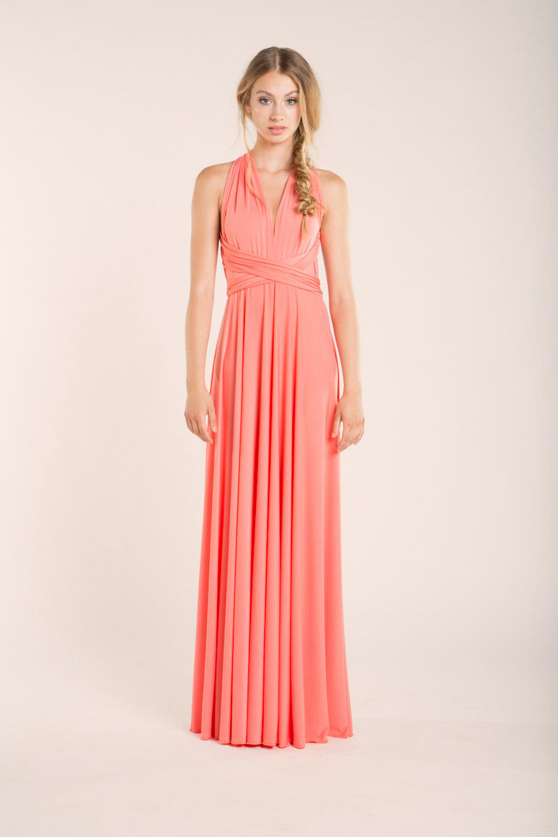 Coral Bridesmaid Dresses Convertible Bridesmaid Dress