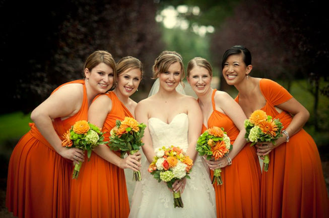 Custom Made Sweetheart Orange Bridesmaid Dress, Long Prom Dress, Wedding Party Dress