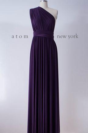 Wrap Dress,Long Wedding Dress, Bridal party, CUSTOM Bridal Dress, Bridesmaid Dark Purple infinity dress