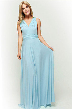 Blue Convertible Dress, Long Convertible Bridesmaid Dress, Multiway Prom Dress, Bridesmaid Dress