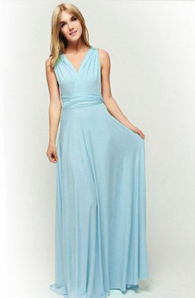 Blue Convertible Dress, Long Convertible Bridesmaid Dress, Multiway Prom Dress, Bridesmaid Dress