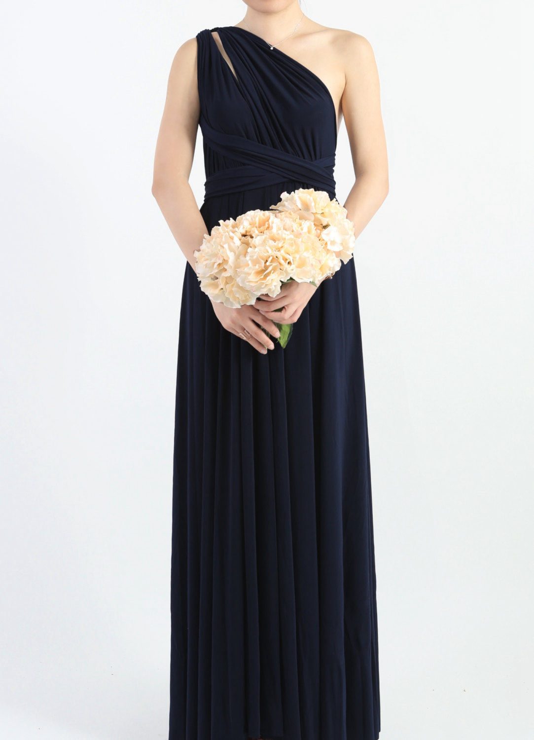 Midnight Blue Bridesmaid Dress, Infinity Floor Length Wrap ...