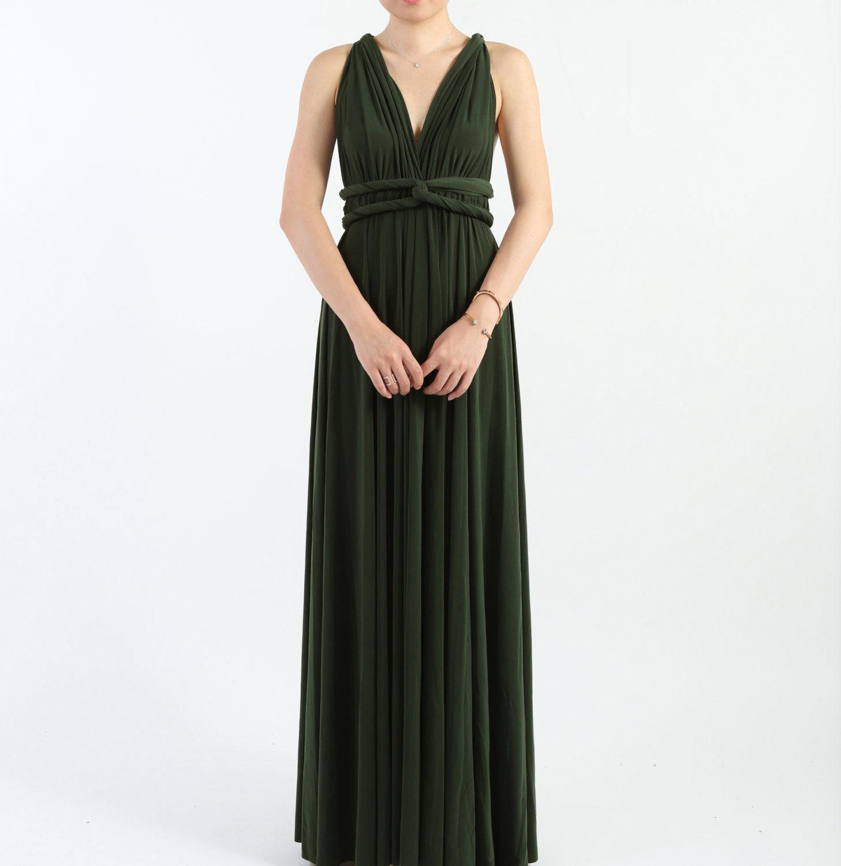 Dark Olive Wedding Dress, Bridesmaids Dress Long, Infinity Wrap Convertible Dress, Evening Gown, Cocktail Party Dress