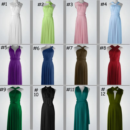 Set of 16 Infinity Dress, Multiway Dress, Convertible Dress, Twist Wrap Dress, Cocktail Dress Full Length