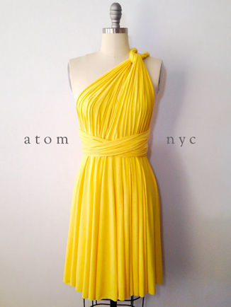 Yellow knee length dress, Black Convertible Bridesmaid dress, Infinity Dresses knee length