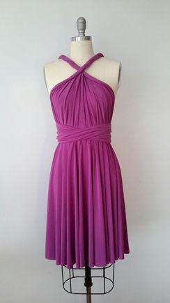 Bridesmaid Dress Infinity Convertible Dark Purple Short Dress knee length Wrap Dress Christmas dress