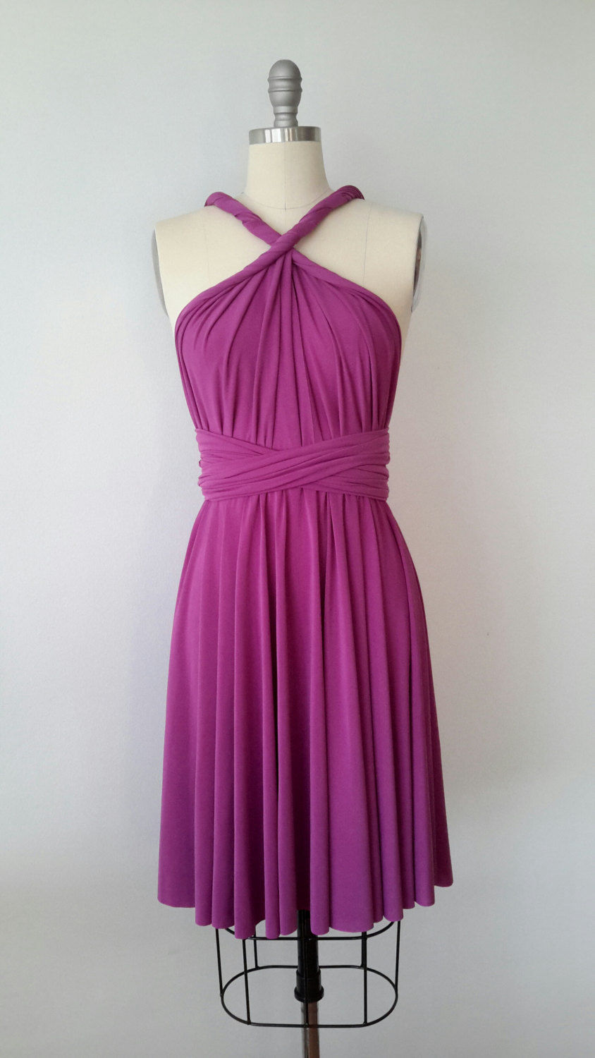 Bridesmaid Dress Infinity Convertible Dark Purple Short Dress knee length Wrap Dress Christmas dress