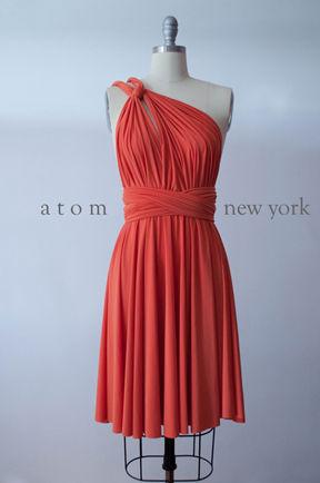 Coral Bridesmaid Dress, Convertible Multiway Night Dress, Knee length Wedding dress, Infinity dress bridesmaid