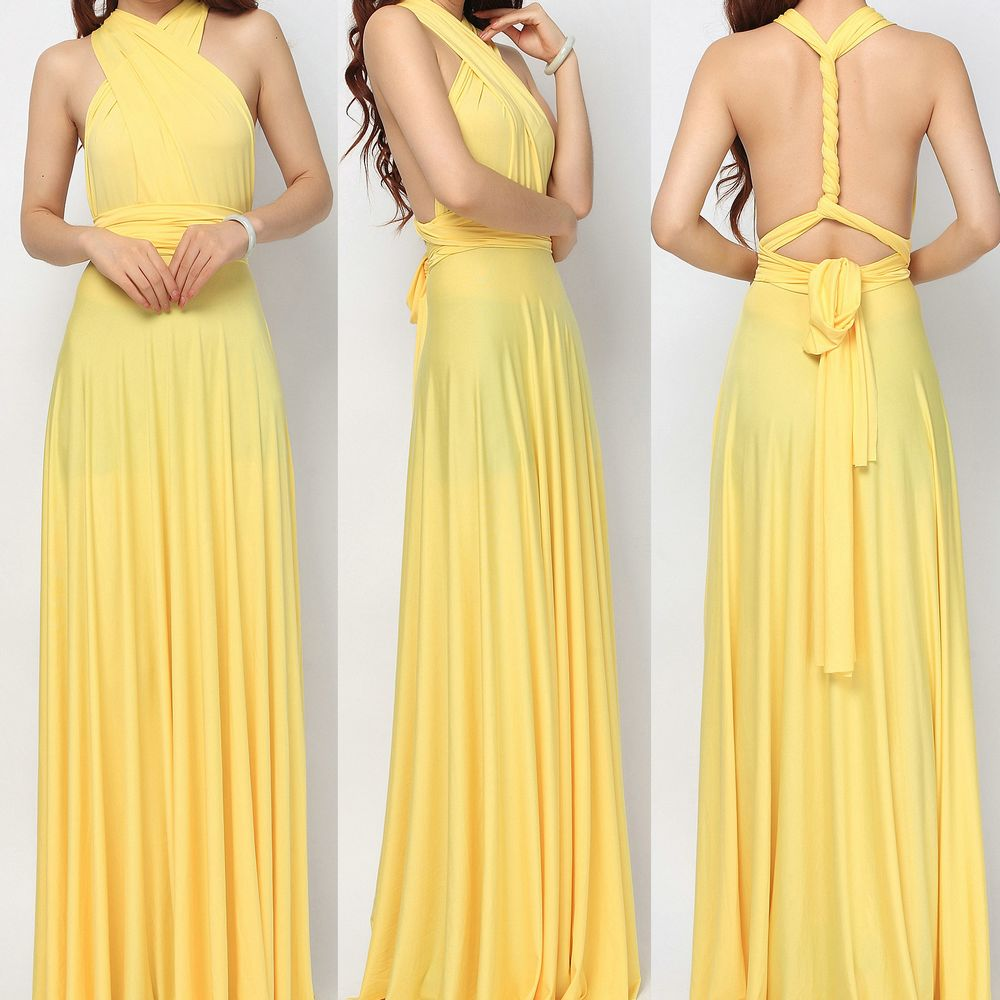 Set of 4 Yellow Infinity Dress, Floor Length Wrap Convertible Dress, Evening Cocktail Dress