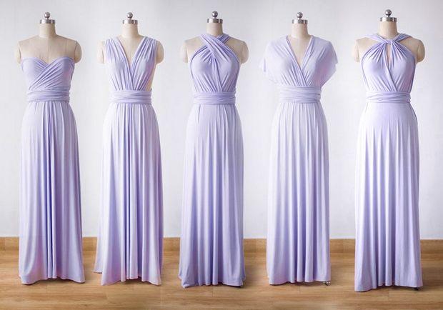 5 Violet Bridesmaid Dress Set, Infinity Dress Prom Dress Convertible Dress Wrap Dress