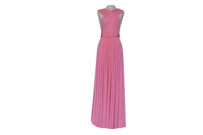 1 Coral Infinity Dress Long, Convertible Dresses for Bridesmaids, Cheap Twist Wrap Dress