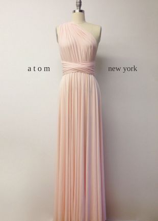 Pale pink bridesmaid dress, Pink Infinity Dress, Infinity Dress Long, Evening Dress