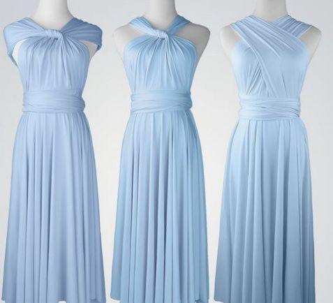 Set of 7 Short Baby Blue Infinity Dress, Convertible Dress, Twist Wrap Dress, Infinity Dresses for Sale