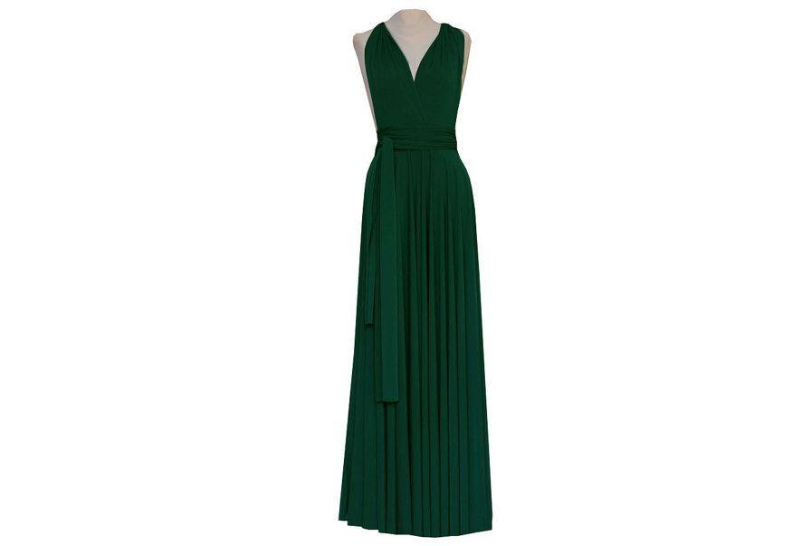 1 forest green party dress set wedding dress convertible for Forest green wedding dress