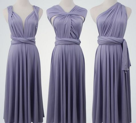 Set of 8 Short Infinity Dress Set, Grey Convertible Dress, Cheap Convertible Bridesmaid Dress