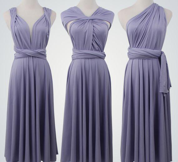 Set of 8 Short Infinity Dress Set, Grey Convertible Dress, Cheap Convertible Bridesmaid Dress