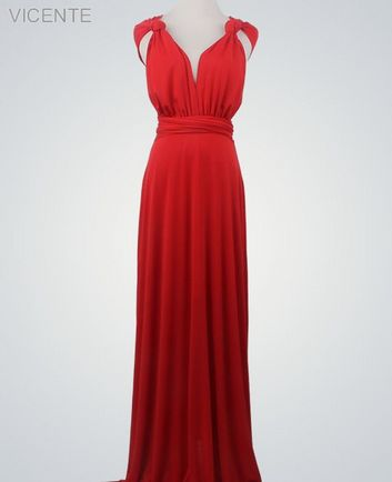 1 Red Infinity Dress Set, infinity bridesmaid dress, Floor Length Convertible Dresses