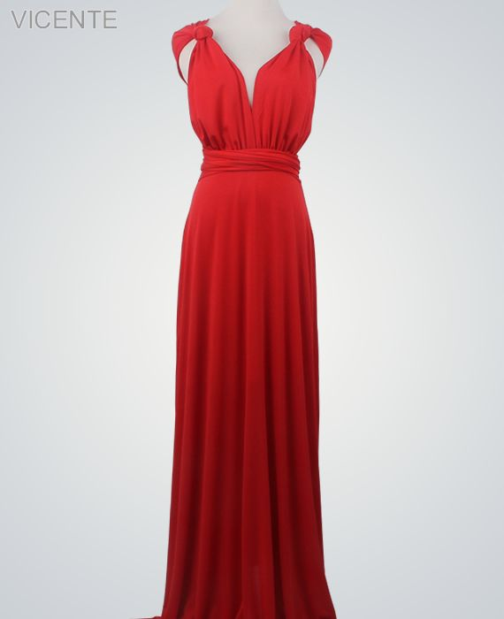 0e284c1a15154 1 Red Infinity Dress Set, infinity bridesmaid dress, Floor Length  Convertible Dresses