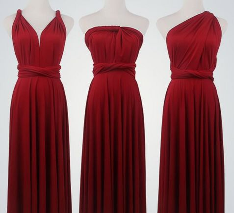 Pack of 12 Red Short Infinity Dress Set, Convertible Dresses for Bridesmaids, Evening Dress, Party Dress