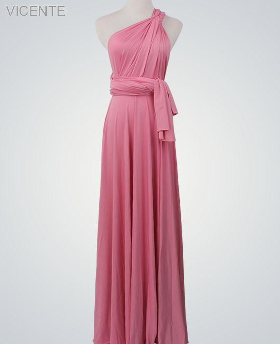 1 Pink Infinity Dress, Convertible Dresses for Bridesmaids, Beach Wedding Dress