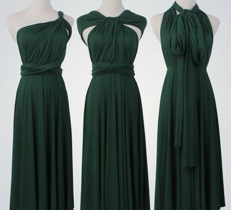 Pack of 8 Forest Green Short Infinity Dress Set, Infinite Dress, Convertible Infinity Bridesmaid Wrap Dress