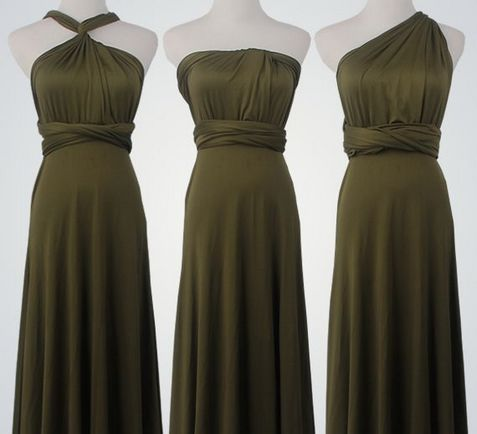 Set of 4 Forest Green Short Infinity Dress, Infinity Dress Bridesmaid,  Beach Wedding Dress, Party Dress