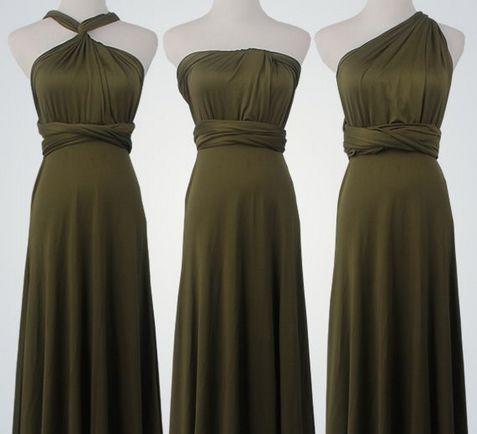 Set of 4 Forest Green Short Infinity Dress, Infinity Dress Bridesmaid,  Beach Wedding Dress, Party Dress
