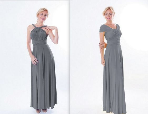 5 Grey Infinity Dress Set, Convertable Bridesmaid Dress, Twist Wrap Dress, Wedding dress