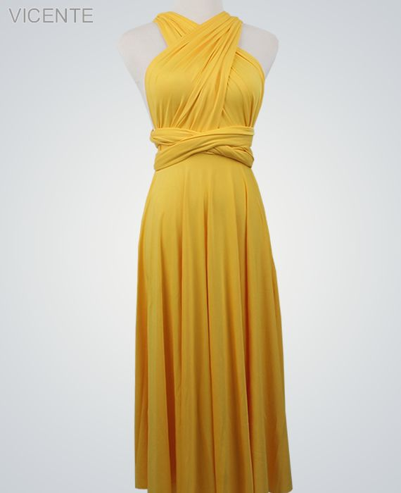 Mustard Long Infinity Dresses Floor Length Wrap Convertible Dress Wedding Bridesmaid