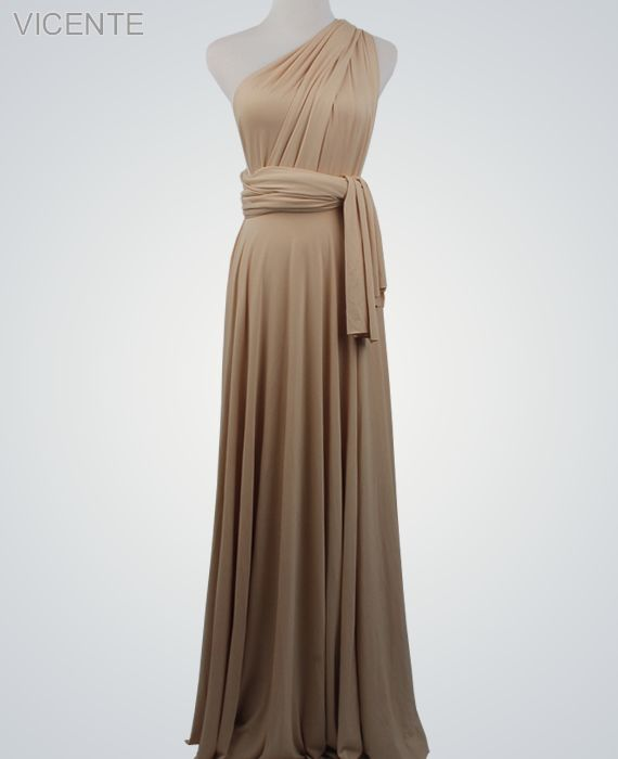 1 Beige Party Dress Set, Infinity Bridesmaid Dress, Convertible Long Dress, Beach Wedding Dress