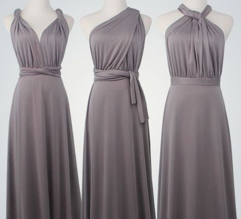 Set of 6 Short Infinity bridesmaid dresses, Taupe convertable dress, Formal long dress, Floor Length infinity dress
