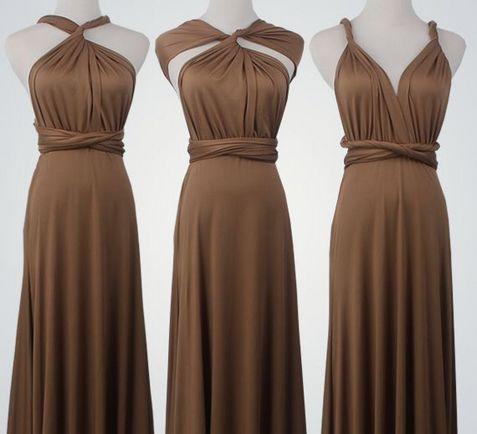 10 Short Infinity Dress Set, Chocolate Convertable Dress, Floor Length Convertible Dresses, Evening Dress