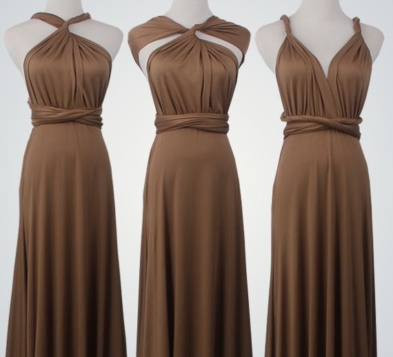 10 Short Infinity Dress Set, Chocolate Convertable Dress, Floor Length Convertible Dresses, Evening Dress