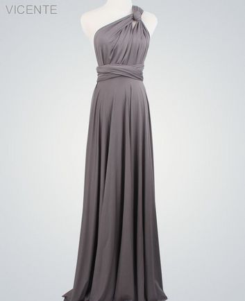 1 Grey Convertible Dress, Twist Wrap Dress, Wedding dress, Long Infinity Dress, Bridesmaid Dress