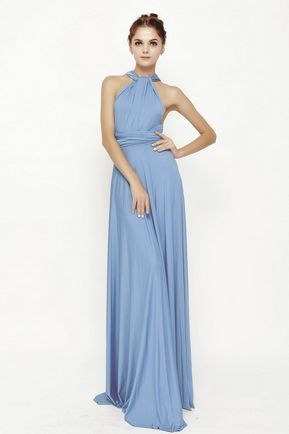 1 Sky Blue Infinity Dresses, Long Convertible Bridesmaid Dress, Evening Dress