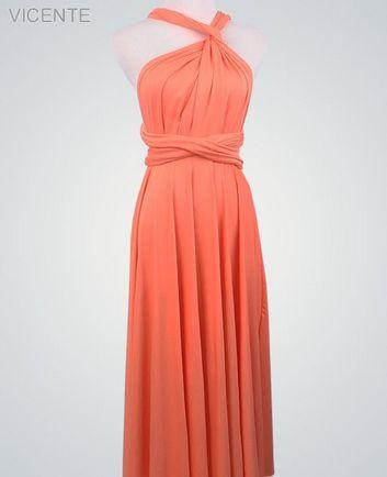 Peach Convertable Dress, Floor Length infinity dress, Evening Dress, Party Dress, Bridal Party