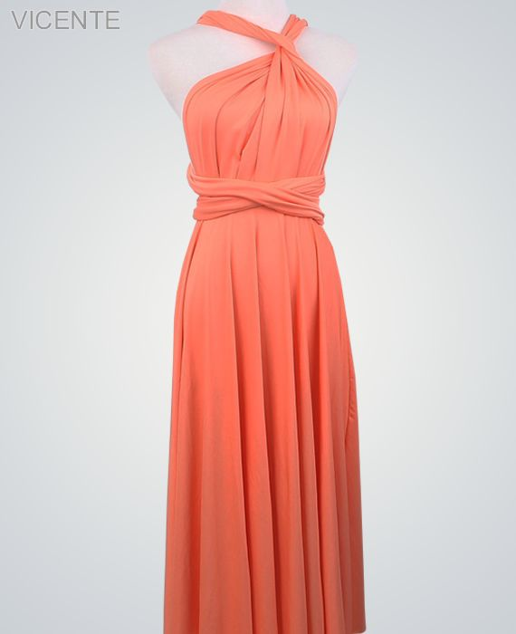 Peach Convertable Dress, Floor Length infinity dress, Evening Dress, Party Dress, Bridal Party