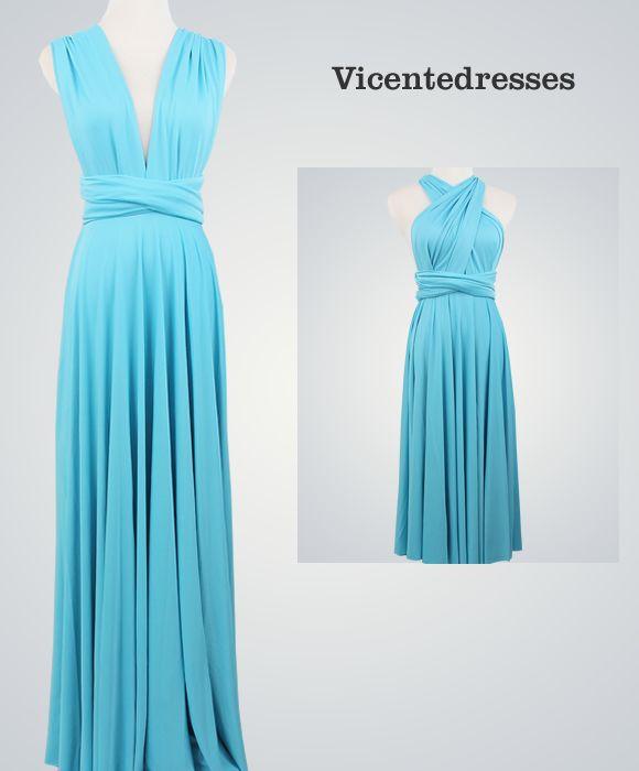 Blue Convertible Dress, Bridal Party, Bridesmaid Light Blue Infinity Dress, Bridal Party