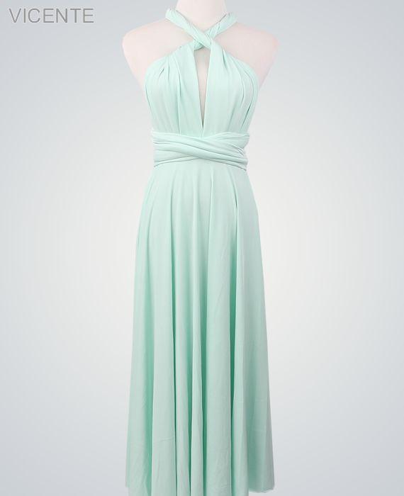 Light Green Infinity Dress, Green Convertible Dress, Evening Dress, Party Dress