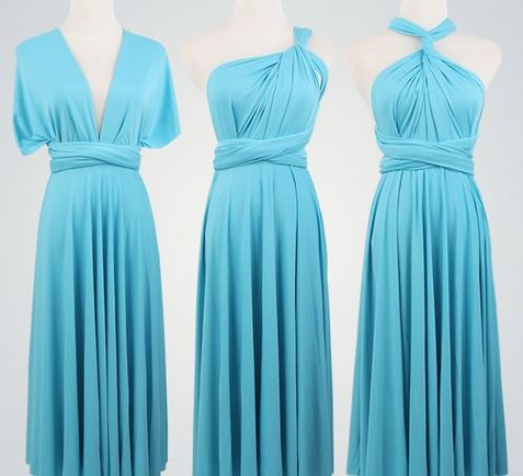 Set of 2 Blue Short Infinity Dress Set, Convertible Dresses for Bridesmaids, Bridal Party, Evening Dress