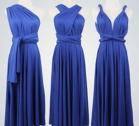 11 Royal Blue Infinity Dress Set, Blue Infinity Dress, Long Bridesmaid Dress, Wedding Party Dress