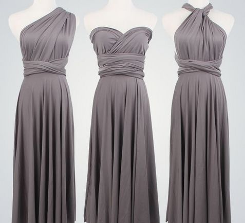 Pack of 9 Grey Infinity Dress Set, Long Infinity Dress, Floor Length Infinity Dress, Evening Dress
