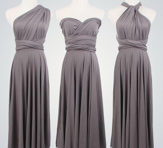 Pack of 9 Grey Infinity Dress Set, Long Infinity Dress, Floor Length Infinity Dress, Evening Dress