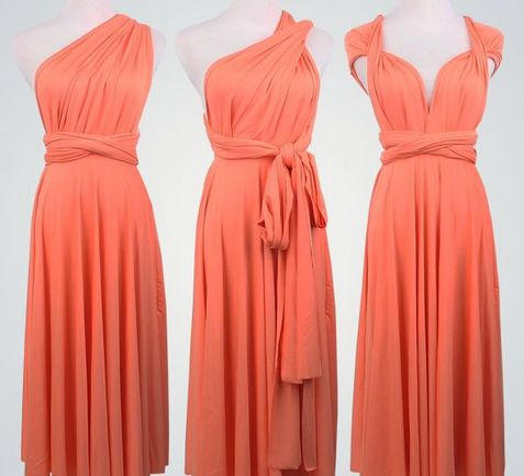 Set of 5 Coral Short Infinity Dress Set, Infinity Wedding Dress, Best Convertible Dress, Party Dress